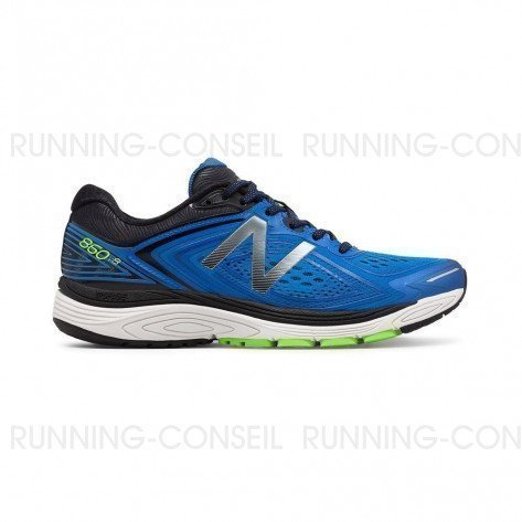 NEW BALANCE 860v8 Homme Vivid Cobalt Blue with Energy Lime / Black Profil Extérieur