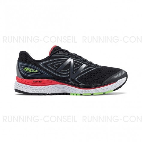 NEW BALANCE 880v7 Homme Black with Thunder / Energy Red Profil extérieur