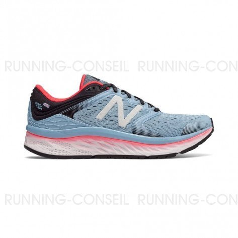 NEW BALANCE Fresh Foam 1080v8 Femme Clear Sky with Vivid Coral / Black Profil Extérieur