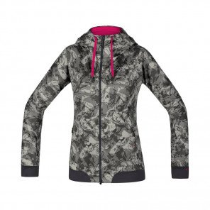 GORE® C5 Windstopper Veste à Capuche Trail Hooded Femme Terra grey camo Face