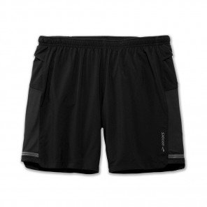 "BROOKS Short Sherpa7"" 2en1 Homme Noir Face"