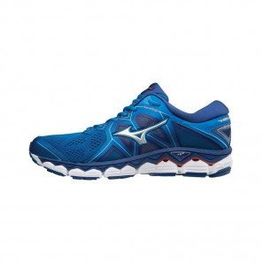 MIZUNO WAVE SKY 2 Homme Directoire Blue/Silver/Cherry Tomato | Collection Automne Hiver 2018