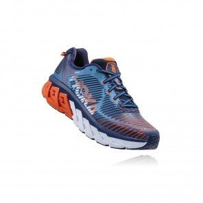 HOKA Arahi 2 - Homme - Medieval Blue / Red Orange 3/4