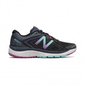 NEW BALANCE 860v8 Femme Black with Poisonberry / Thunder Profil Extérieure