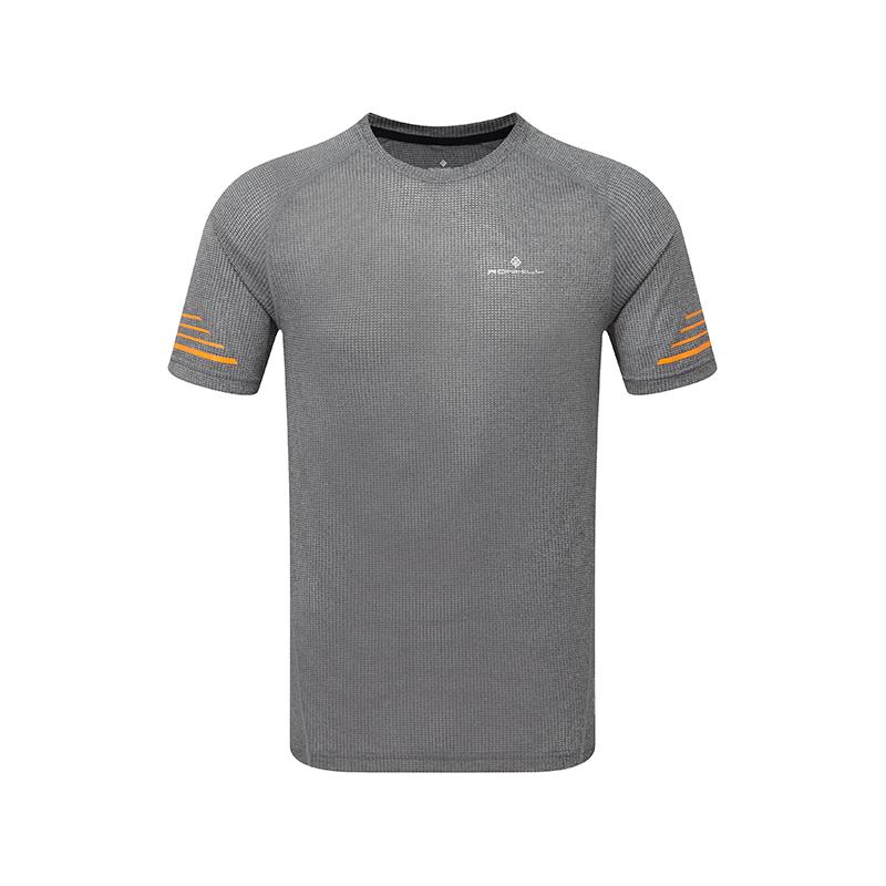 RONHILL Tee-shirt manches courtes STRIDE Homme | Grey Marl/Sunburst